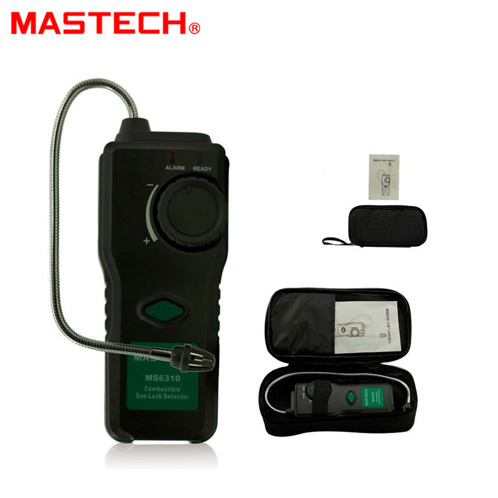MASTECH MS6310 Portable Combustible Gas Leak Detector Natural Gas Propane Gas Analyzer 50ppm With Sound Light Alarm official ms6310 high accuracy combustible gas leak detector analyzer meter with sound light alarm analizador de gases page 1