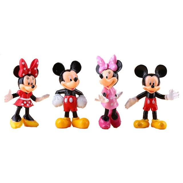 4 Pcsset Mini Mickey Minnie Figure Mickey Minnie Mouse Cartoon