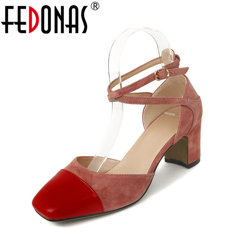 FEDONAS 2018 New Women High Heels Genuine Leather Wedding Shoes Ladies Sexy Square Toe Patchwork Ankle Buckle Party Pump 2018 women shoes high heels sandals pump wedding shoes sexy party high heels t stage patent leather wedding shoes