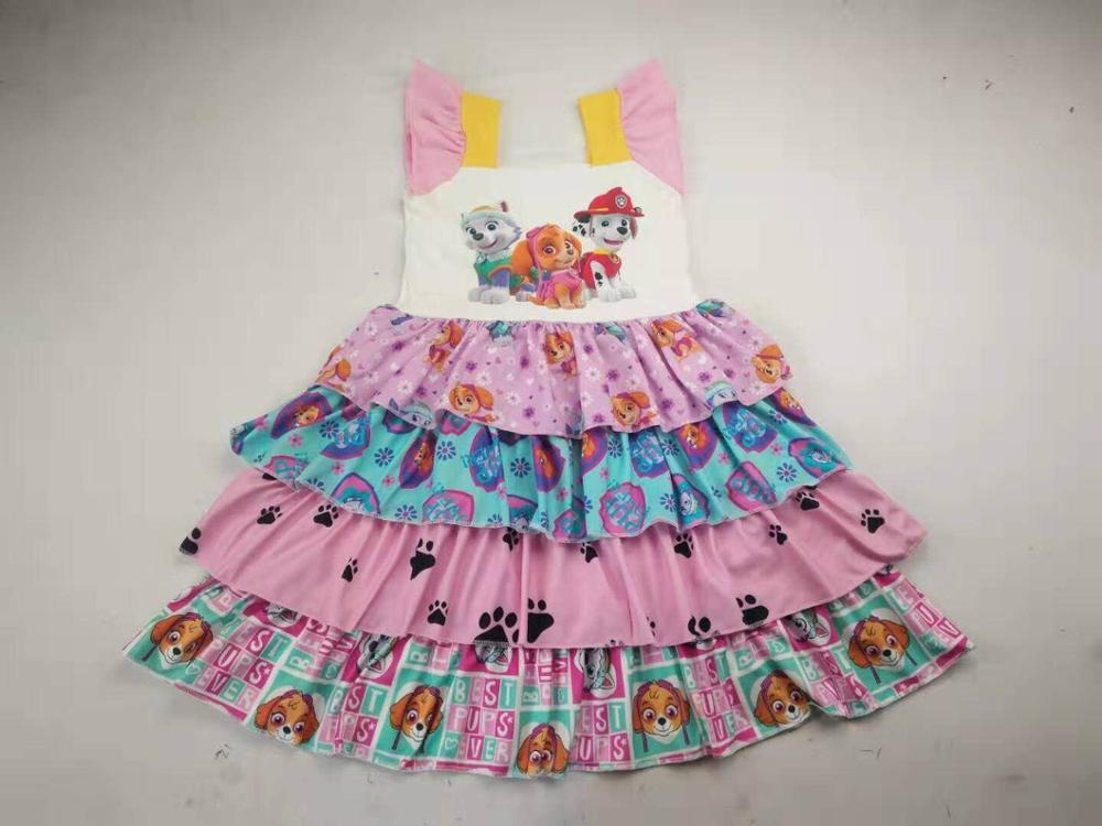 hot sell lovely girls clothing cartoon dog print kids boutique dress(China)