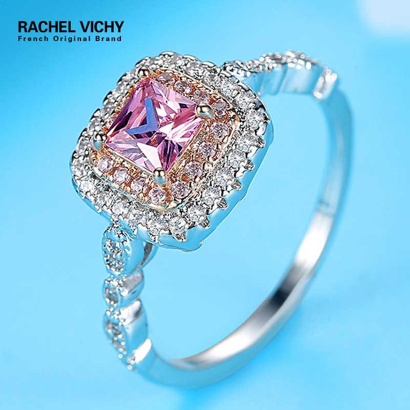 RACHEL VICHY Vintage Silver Morganite แหวนแหวนหมั้นพรรคสีแหวนแฟชั่นแหวน Fine JewelryR424