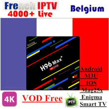H96 Max + Android8.1 TV Box 4/64G 1 Tahun Bahasa Perancis/Uk/USA/Jerman /Albania/Italia/Portugal/EX-YU/Eropa/XXX VOD IPTV(China)