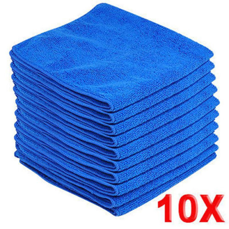 Mayitr 10pcs Microfiber Wash Clean Towels Cleaning Cloths Blue Car Furniture Cleaning Duster Soft Cloths 30x30cm