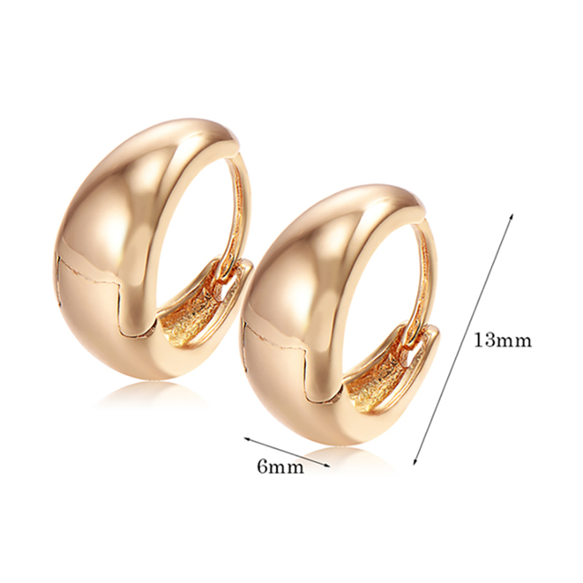 Children S Safety Back Baby Kids Smooth Hoop Earrings Yellow Gold Color Fashion Jewelery