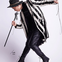 ZIPPIDY Design Black White Stripe Sequin Long Style Blazer For Men Singer Paillette