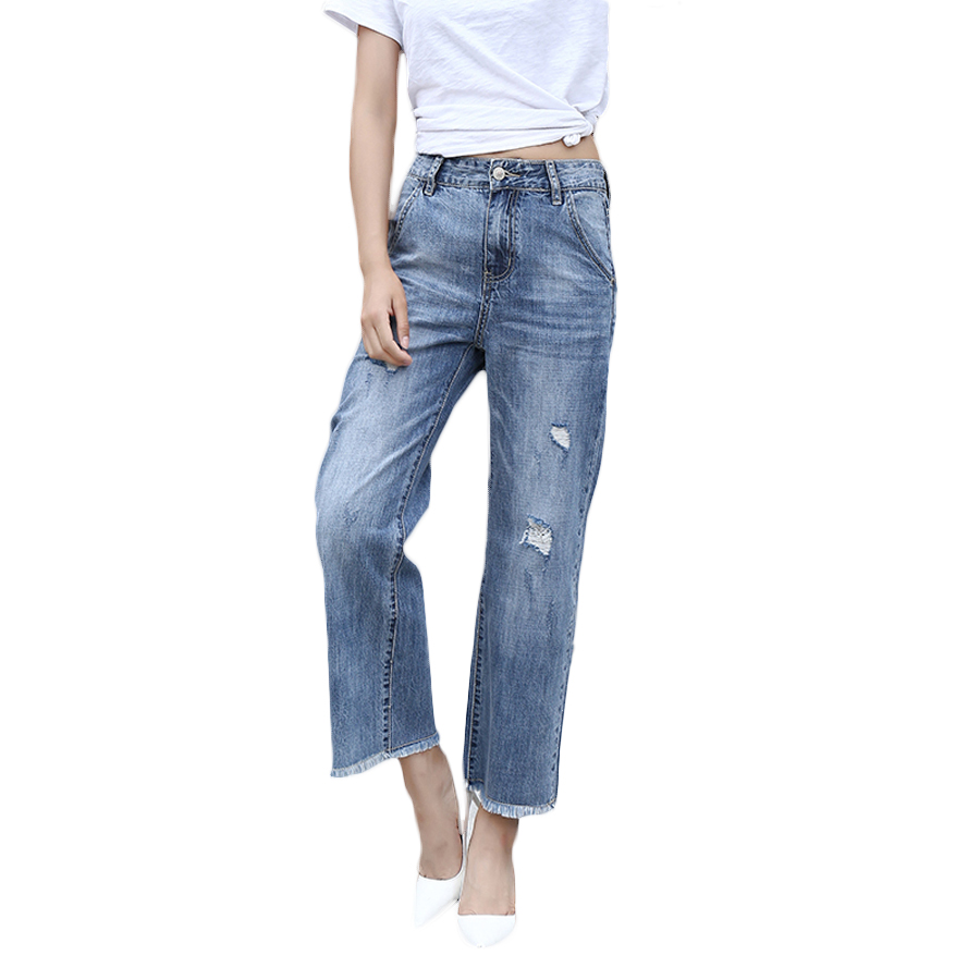 New 2017 Summer Fashion Women Jeans Denim Hole Jeans Casual Loose Jeans Mid Ankle Length Pants Wide Leg Pants Trousers Jeans new fashion 2017 women s wide leg pants jeans ladies loose ankle length denim pants high quality women hole jeans pants american