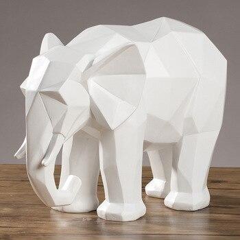 الفيل تمثال مجردة الراتنج الحلي أسود أبيض هندسي الفيل الحيوان النحت الحرف ديكور المنزل نموذج هدية