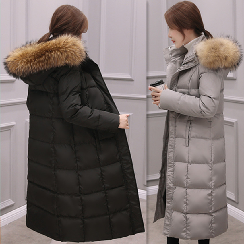 Winter Natural Raccoon Fur collar   Down   Jackets Fashion Women's   Down     Coats   Long Thicken Parkas Outerwear YR23