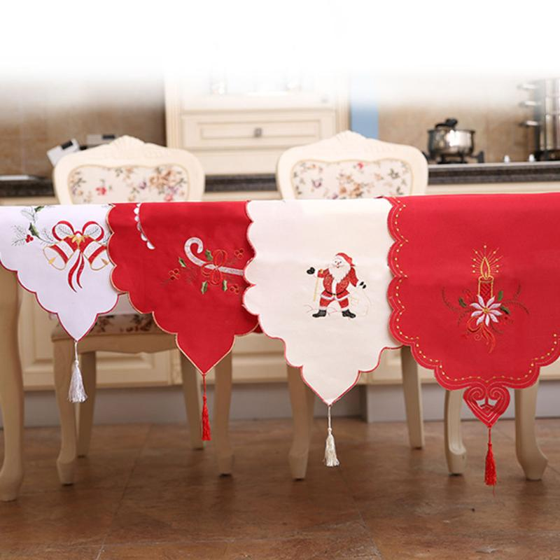 Christmas Table Runner Embroidered Hollow Christmas Tablecloths Floral Lace Dust Proof Table Covers Party Decoration for Home