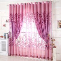 Polyester window curtains sheer for living room Modern voile kitchen curtain panel burnout floral purple coffee free ship