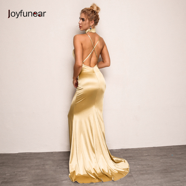 2bda22ddd2a7 Joyfunear New Arrival Autumn Dress Women 2018 Backless V Neck Elegant Maxi  Dress Sexy Bodycon Party Dresses Female Vestidos