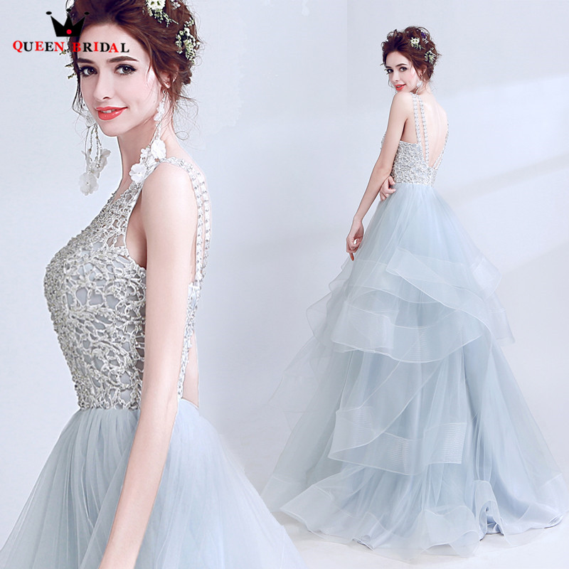 QUEEN BRIDAL 2018 New Fashion Fluffy Gray   Evening     Dresses   Ball Gown Beading Sequin Luxury Prom Party   Dress   Robe De Soiree LS02M