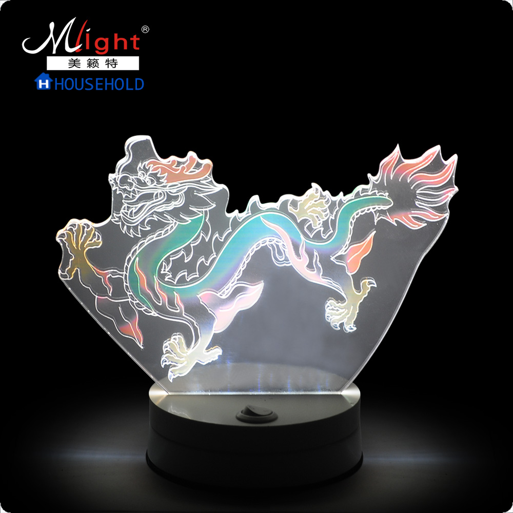 Atmosphere light 12 LED Night Light Mood Lamp for Holiday Lamp 3D Bulbing Light Color Changing  Atmosphere Lamp Oriental Dragon skull 3d cartoon usb mood led lamp creative atmosphere table lamp