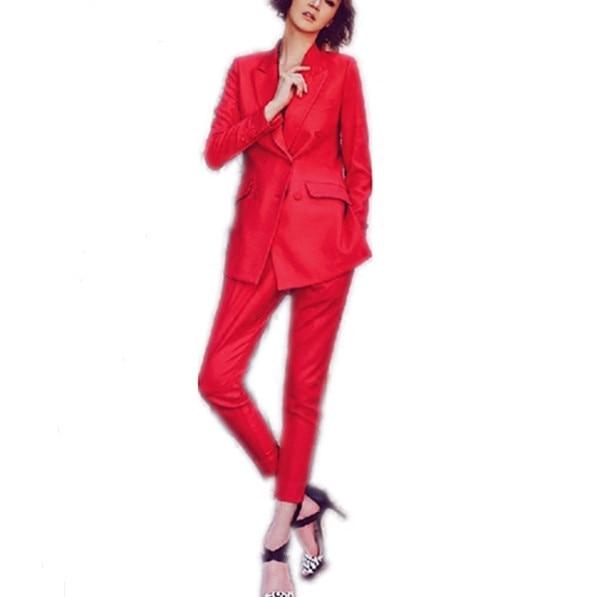 Europa en de Verenigde Staten high end rood kleine pak vrouwen lange mouw jasje kantoor interview werk en leisure twee/set - 5