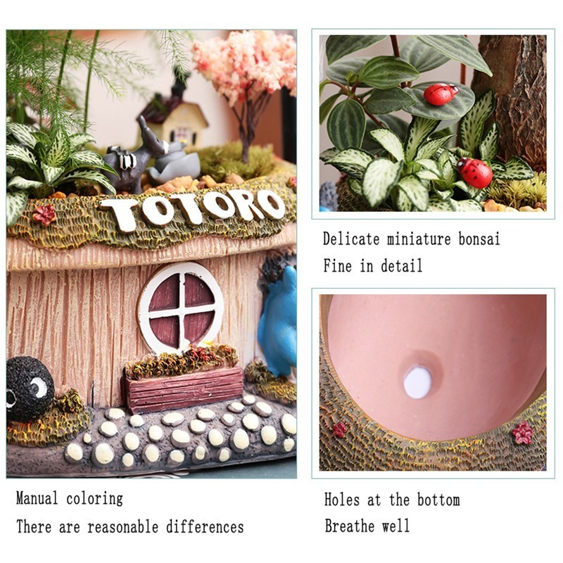 Image 5 - 1pcs Fortune tree flower pot With Light Small Bonsai Bamboo Plant Indoor Purification Air Plant Micro Landscape Desktop Ornament-in Flower Pots & Planters from Home & Garden