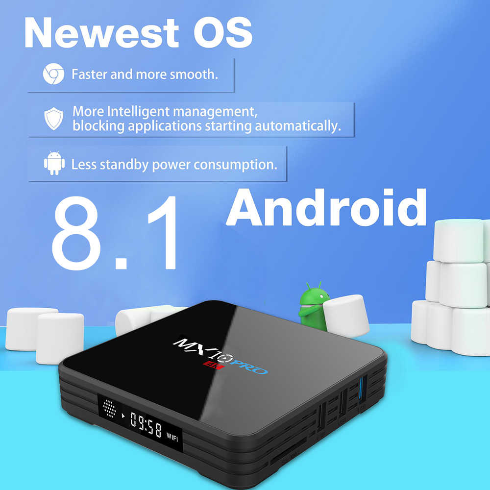 MX10 PRO TV Box Android 8.1 4 gb/32 gb RK3328 4 k VP9 H.265 HDR10 USB3.0 Bluetooth 4.1 DLNA Miracast Airplay 2.4 gam/5 gam Kép WiFi
