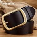 Men 2017 The New High-end Leisure Wild Gold copper Leather belt Man's Genuine Retro fashion designer jeans Waistband belts F072
