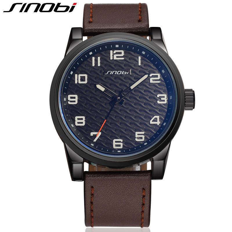 SINOBI Sport Men s Watches Genuine Leather Watch Men Hardlex 30 Meters Water Resistant Wristwatches font