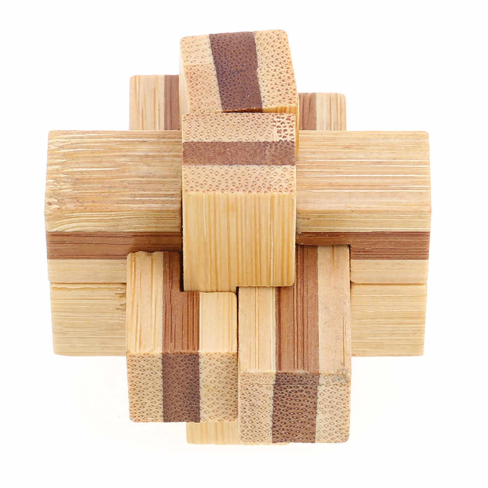 3d Interlocking Wooden Puzzle 6 Pieces Cross Wooden Burr Puzzle Kong Ming Iq Brain Teaser Intelligent Learn Unique Design Toys