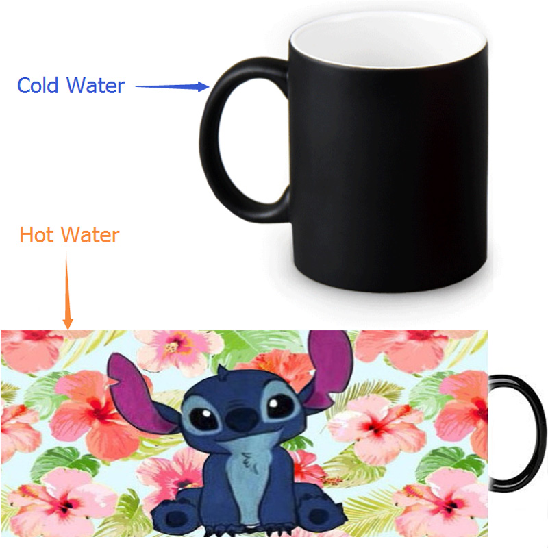 Lilo Stitch Ohana Quote mugs Heat Sensitive Color Changing magic mug heat changing color transforming cups