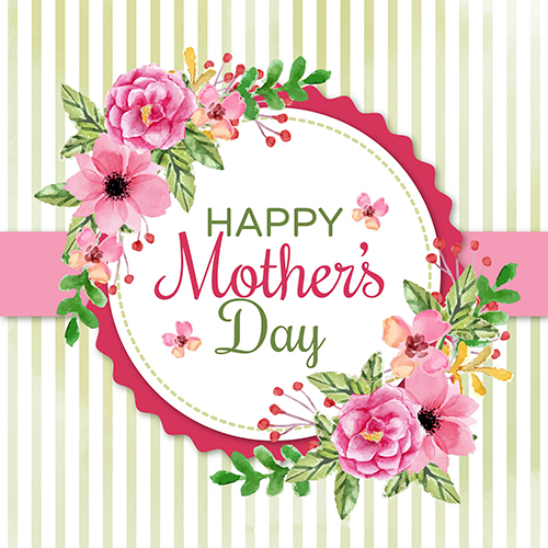 Flower Leaves Yellow Striped Happy Mothers Day Background