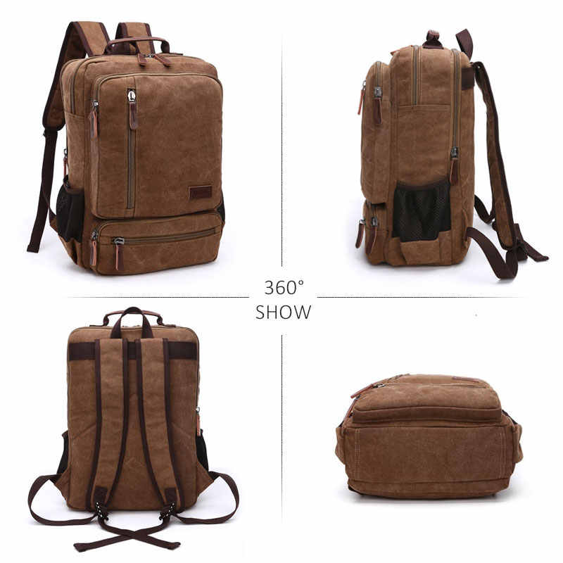 Винтажный холщовый мужской рюкзак большой емкости, дорожная сумка на плечо, высокое качество, Модная студенческая сумка для ноутбука, мужской рюкзак для ноутбука