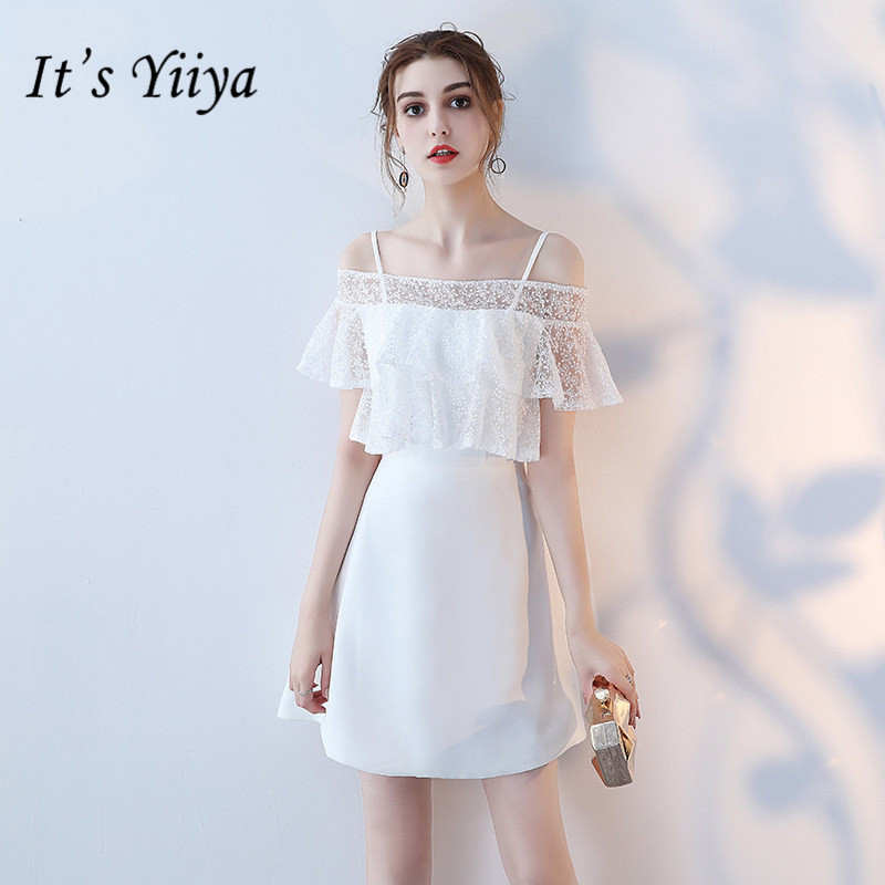 It's YiiYa New Boat Neck Ruffles   Prom     Dresses   Elegant Pure Color Little White Formal   Dress   Party Gown YG005