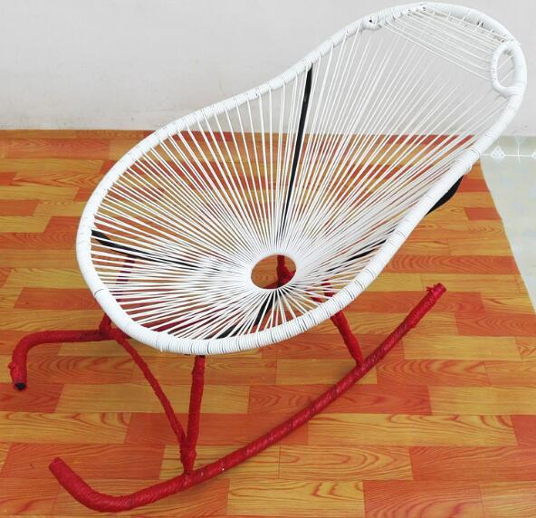 Rocking chair PE cane chair Garden Chair Round Iron Courtyard Chair