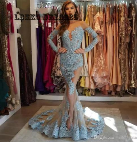 Lace Applique Mermaid Evening Dress long sleeve 2019 Celebrity Party Prom Gowns Formal Evening Gowns Dresses Abendkleider