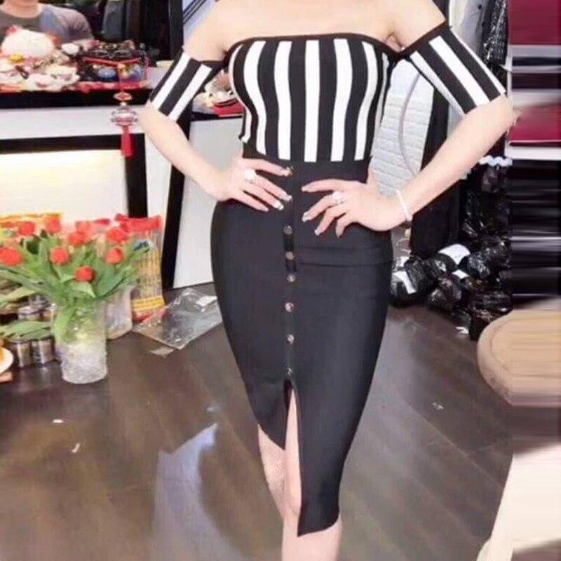 Patchwork Excellente De Parti Qualité Sans 2018 Bretelles Rayé Designer Bandage Robe Femmes Nouvelle Mode rXrqwxd70
