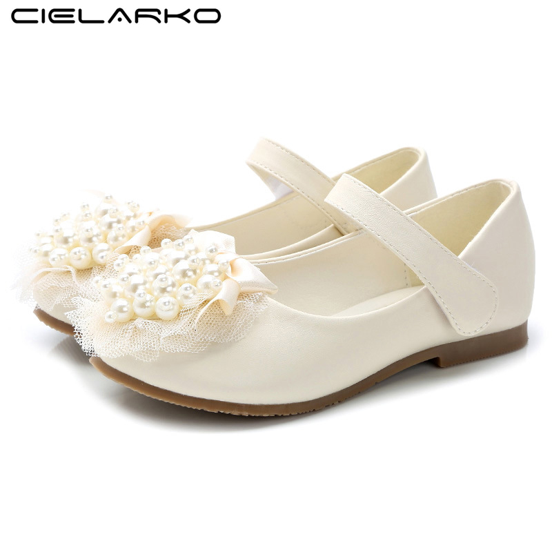 Cielarko Girls Shoes Princess Fashion Bow Beading Flats for Girl PU Leather Kids Shoes for Dance Party Princess Single Shoes