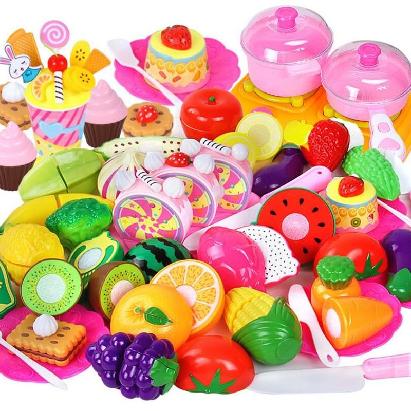 Kind Baby Klassische Küche Spielzeug Gemüse Obst Schneiden Kunststoff  Vorgeben Set Schneidebrett Pretend Lebensmittel Spielzeug Set Für Kinder
