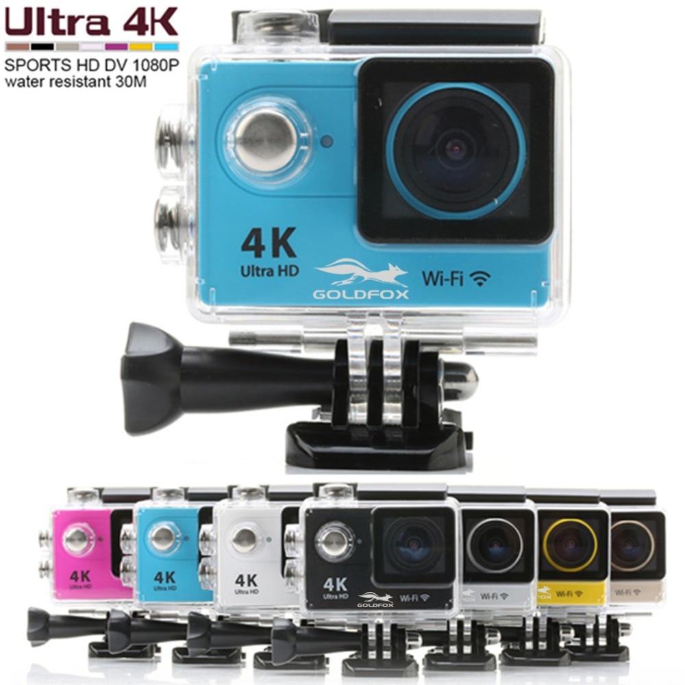 Goldfox H9 Action camera Ultra HD 4K WiFi 1080P/60fps 2.0 LCD 170D lens Helmet Cam waterproof pro sports camera 4K Action Camera f88 action camera black