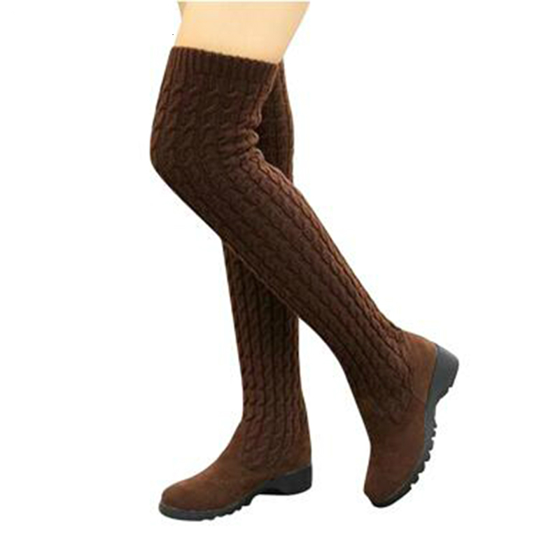 2018 NEW Fashion Knitted Women Knee High Boots Elastic Slim Autumn Winter Warm Long Thigh High Boots Woman Shoes Size 40 ilismaba new ladies fashion sexy autumn long sleeved brand dresses high quality printed knitted elastic fabric women s dress