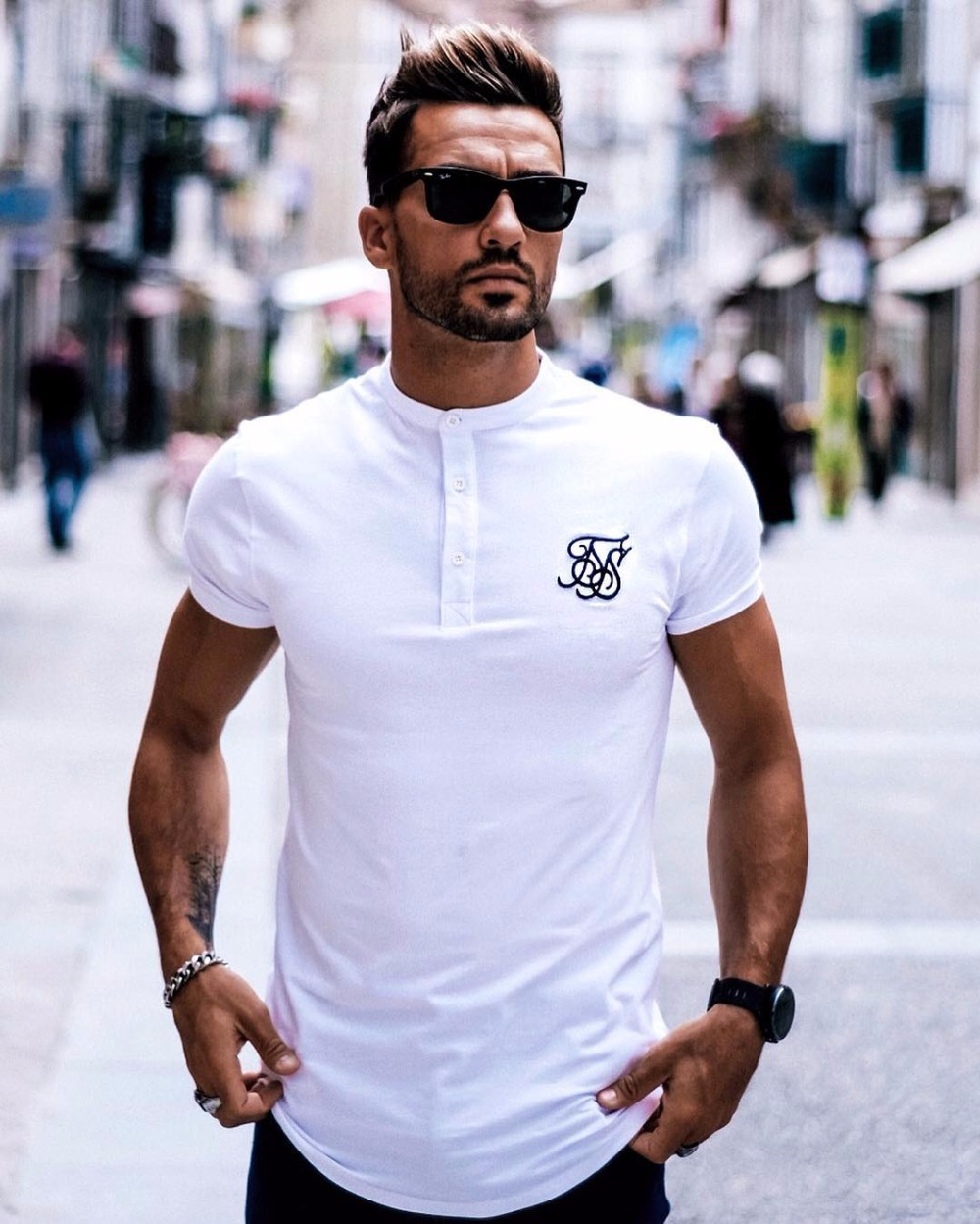 Men Fashion Summer Ss Sik Silk Kanye West Sik Silk Embroidery Men Casual Hip Hop Irregular Curved Hem Short Sleeve Cotton Shirts