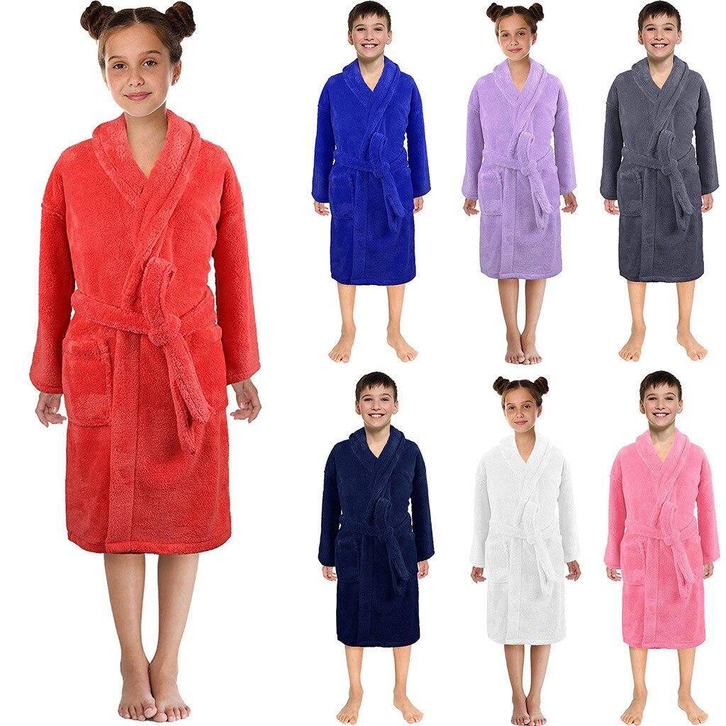 Genereus Muqgew Peuter Kids Jongens Meisjes Effen Flanel Kasjmier Badjassen Handdoek Nachtjapon Pyjama Nachtkleding Zachte Kinderen Thuis Kleding