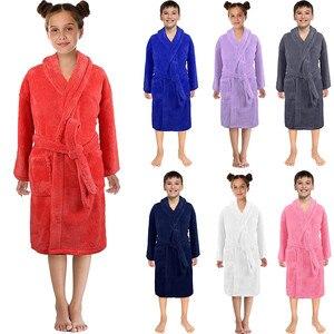 MUQGEW Toddler Kids Boys Girls Solid Flannel Cashmere Bathrobes Towel Night-Gown Pajamas Sleepwear Soft Children Home Clothes