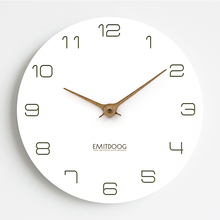 EMITDOOG Waterproof Modern Quartz Silent Photo Frame Wooden Clock White Round Luxury Wall Watch