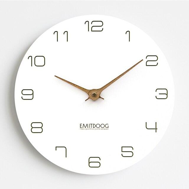 Emitdoog Waterproof Modern Quartz Silent Photo Frame Wooden Clock White Round Luxury Wall Watch