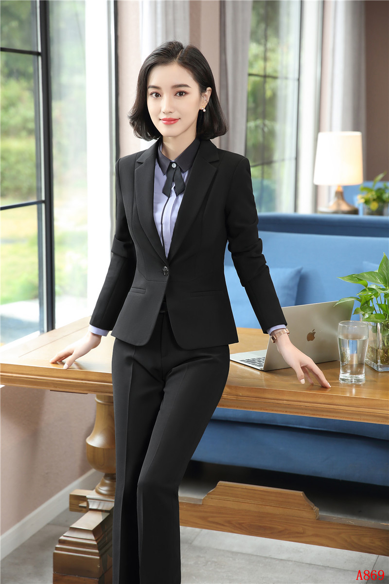 Uniform Designs Formal Pantsuits 2 Piece With Jackets And Pants For Ladies Career Blazer ...