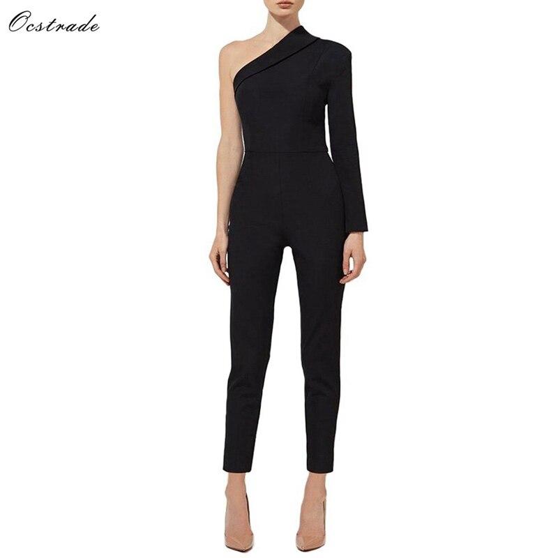 Ocstrade One Shoulder Long Sleeve Fashion Bodycon Jumpsuits YQ0001-Black