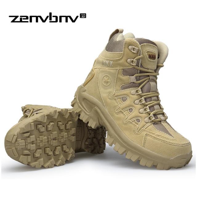 Kış/Sonbahar Erkekler Yüksek Kalite Marka Askeri Deri Çizmeler Özel Kuvvet Taktik Çöl Savaş Botları Açık Ayakkabı Kar Botları