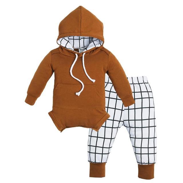 9ddcfe63cda Chinatera 2pcs Autumn Baby Clothing Set Newborn Long Sleeve Hooded Romper+ Plaid  Long Pants Winter Infant