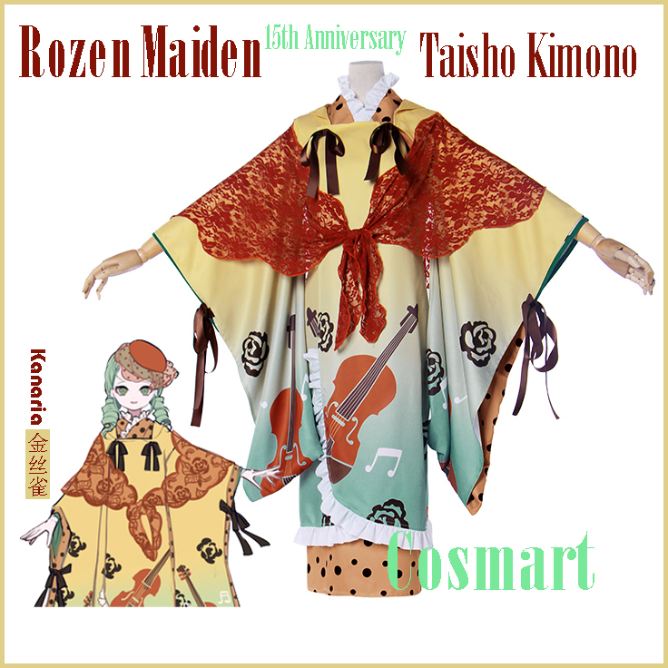 [Customize]Anime Rozen Maiden Kanaria 15th Anniversary Taisho Kimono Dress Uniform Halloween cosplay costumes for women Freeship