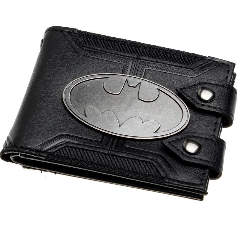 Batman Black Double Hasp Metal badge Bi-Fold  Men Wallet Women Purse DFT-1920