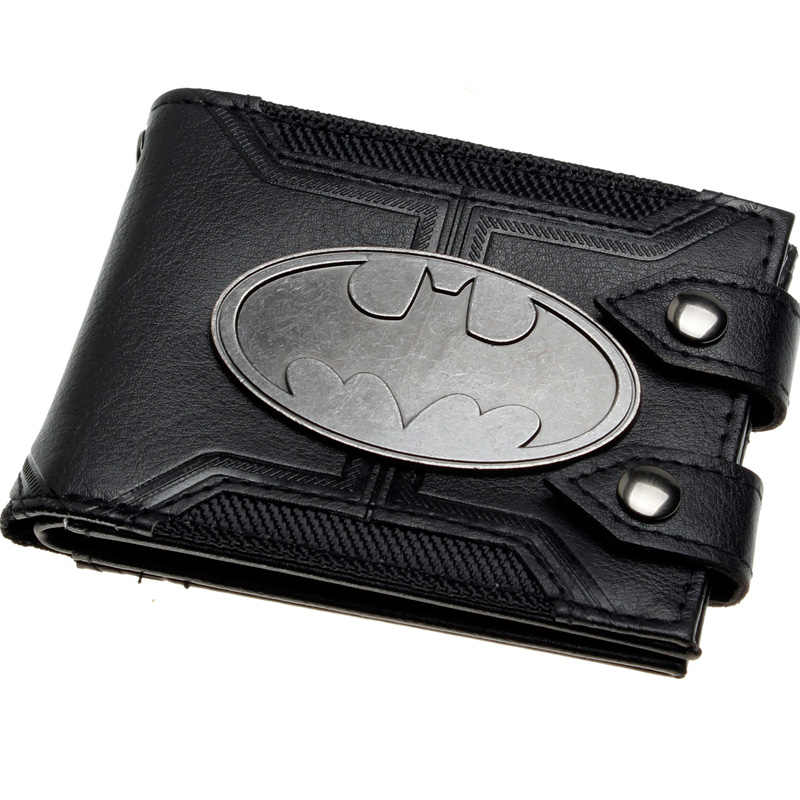 Batman Black Double Hasp Metal badge Bi-Fold  Men Wallet Women Purse DFT-1920