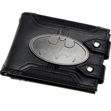 Batman Preto Duplo Ferrolho de Metal crachá Homens Bi-Fold Wallet Women Purse DFT-1920(China)