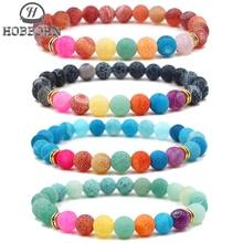 HOBBORN Classic 7Chakra Beads Women Bracelet Colorful Weathered Onxy Maix Strand Men Charm Bracelets Healing Prayer Balance Cruz