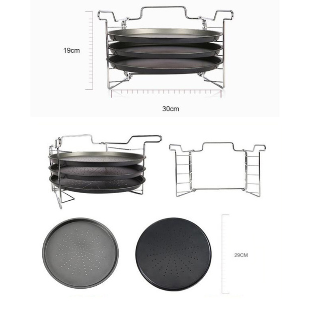 3 Piece Non Stick 12inch Carbon Steel Pizza Trays 2
