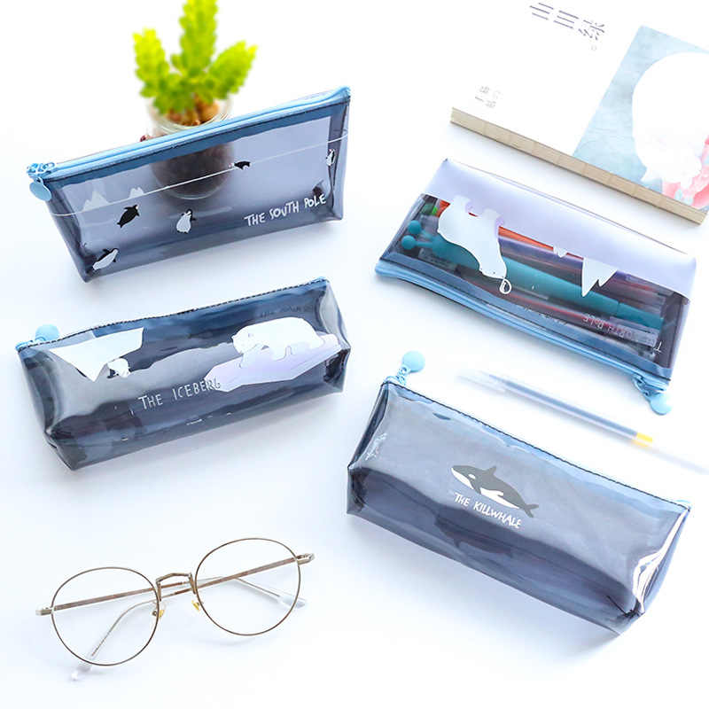 Cartoon Transparent Animal Pencil Case cute fruit pencil bag Storage pouch Office school Supplies Zakka